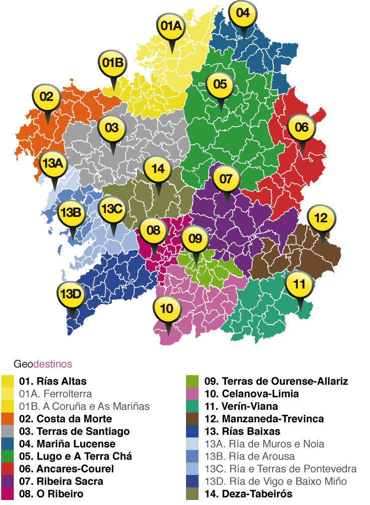 Mapa de Xeodestinos de Galicia